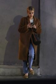 Emma Roberts in long brown coat with blue denim out in Los Angeles, California 2020/03/04 8