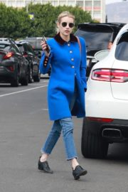 Emma Roberts seen in blue long jacket at adopting a rescue cat in Los Angeles 2020/03/01 1
