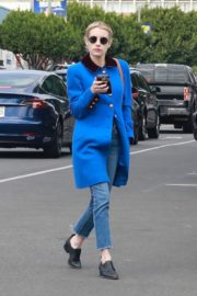 Emma Roberts seen in blue long jacket at adopting a rescue cat in Los Angeles 2020/03/01 2