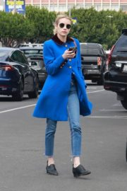 Emma Roberts seen in blue long jacket at adopting a rescue cat in Los Angeles 2020/03/01 11