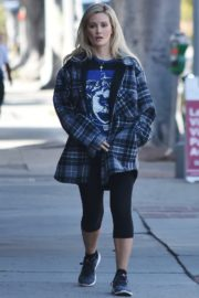 Holly Madison in checked jacket with tights out for a walk in Studio City 2020/03/23 4