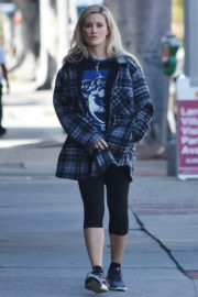 Holly Madison in checked jacket with tights out for a walk in Studio City 2020/03/23 5