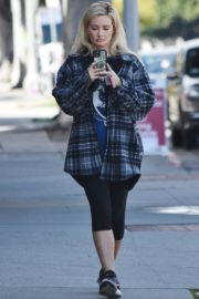 Holly Madison in checked jacket with tights out for a walk in Studio City 2020/03/23 7