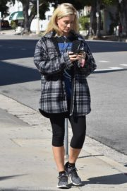 Holly Madison in checked jacket with tights out for a walk in Studio City 2020/03/23 8