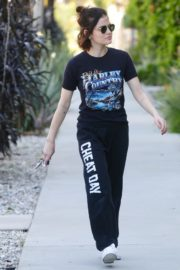 Lucy Hale enjoys a coffee and run an errand early morning in Los Angeles 2020/03/28 12