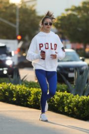 Nina Dobrev seen in white hoodie with tights during jogging in Los Angeles 2020/03/26 2