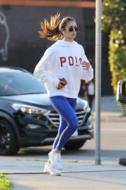 Nina Dobrev seen in white hoodie with tights during jogging in Los Angeles 2020/03/26 5