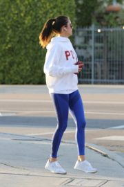Nina Dobrev seen in white hoodie with tights during jogging in Los Angeles 2020/03/26 8