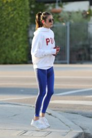Nina Dobrev seen in white hoodie with tights during jogging in Los Angeles 2020/03/26 9