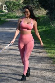 Yazmin Oukhellou seen in tights walking her dogs in Harlow, Essex 2020/03/27 1