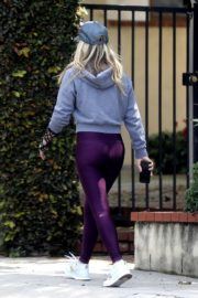 Ali Larter seen grey zipper with purple tights Out for a walk in Pacific Palisades 2020/04/08 6