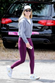 Ali Larter seen grey zipper with purple tights Out for a walk in Pacific Palisades 2020/04/08 7