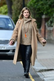 Alice Eve seen in brown long coat out and about in London 2020/04/06 2
