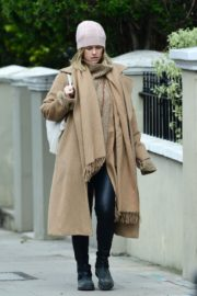 Alice Eve seen in brown long coat out and about in London 2020/04/06 3
