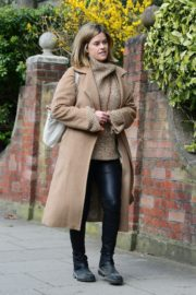 Alice Eve seen in brown long coat out and about in London 2020/04/06 4