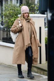 Alice Eve seen in brown long coat out and about in London 2020/04/06 6