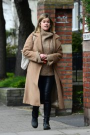 Alice Eve seen in brown long coat out and about in London 2020/04/06 9