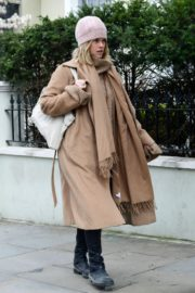 Alice Eve seen in brown long coat out and about in London 2020/04/06 10
