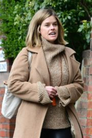 Alice Eve seen in brown long coat out and about in London 2020/04/06 11