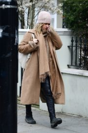 Alice Eve seen in brown long coat out and about in London 2020/04/06 12