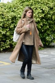 Alice Eve seen in brown long coat out and about in London 2020/04/06 13