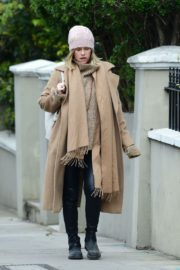 Alice Eve seen in brown long coat out and about in London 2020/04/06 14