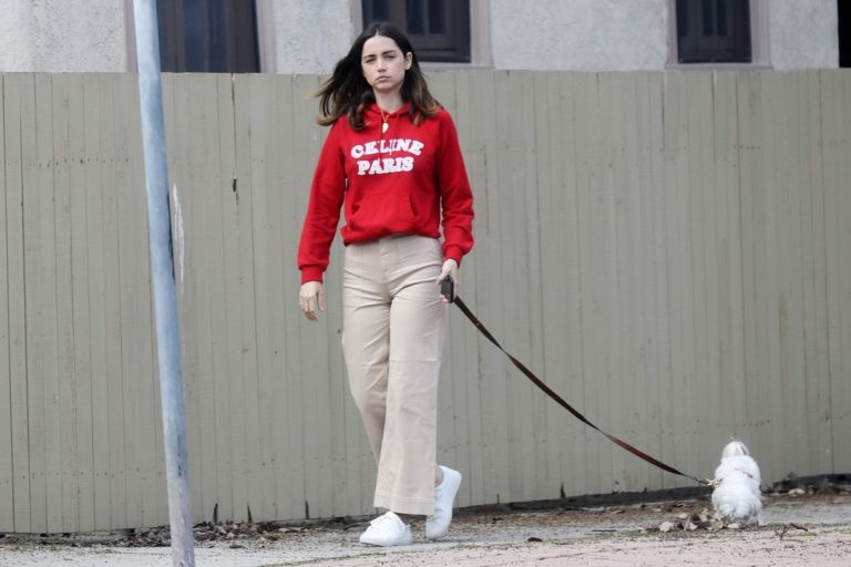 Ana De Armas seen in red sweatshirt during walk her dog out in Pacific Palisades 2020/04/11 1