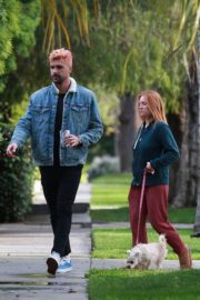 Brittany Snow and husband Tyler Stanaland walk in Los Angeles 2020/04/10 2