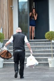 Charlotte Crosby leaves her house to get food delivery in Sunderland 2020/04/03 2