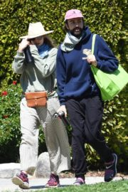 Elizabeth Olsen and fiance Robbie Arnett with homemade masks out in Hollywood Hills 2020/04/11 10