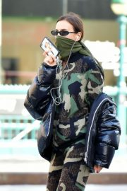 Irina Shayk seen in camouflage moschino jumpsuit and Army Green Scarf Out in New York City 2020/04/14 1