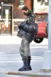 Irina Shayk seen in camouflage moschino jumpsuit and Army Green Scarf Out in New York City 2020/04/14 3