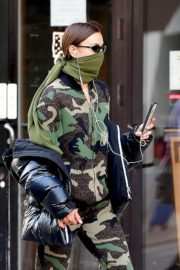 Irina Shayk seen in camouflage moschino jumpsuit and Army Green Scarf Out in New York City 2020/04/14 4