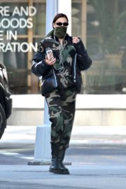Irina Shayk seen in camouflage moschino jumpsuit and Army Green Scarf Out in New York City 2020/04/14 5