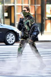 Irina Shayk seen in camouflage moschino jumpsuit and Army Green Scarf Out in New York City 2020/04/14 6