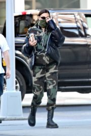 Irina Shayk seen in camouflage moschino jumpsuit and Army Green Scarf Out in New York City 2020/04/14 7