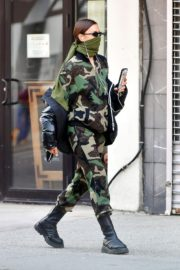 Irina Shayk seen in camouflage moschino jumpsuit and Army Green Scarf Out in New York City 2020/04/14 8