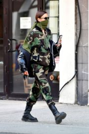 Irina Shayk seen in camouflage moschino jumpsuit and Army Green Scarf Out in New York City 2020/04/14 9