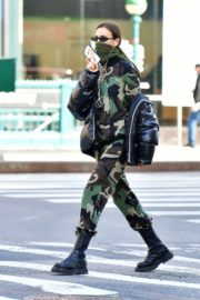 Irina Shayk seen in camouflage moschino jumpsuit and Army Green Scarf Out in New York City 2020/04/14 10
