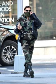 Irina Shayk seen in camouflage moschino jumpsuit and Army Green Scarf Out in New York City 2020/04/14 11