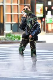 Irina Shayk seen in camouflage moschino jumpsuit and Army Green Scarf Out in New York City 2020/04/14 12