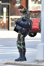 Irina Shayk seen in camouflage moschino jumpsuit and Army Green Scarf Out in New York City 2020/04/14 13