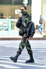 Irina Shayk seen in camouflage moschino jumpsuit and Army Green Scarf Out in New York City 2020/04/14 16