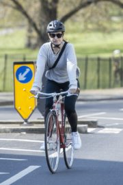 Lily James enjoy ride bike out for her daily exercise during COVID-19 in London 2020/04/11 2