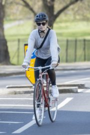 Lily James enjoy ride bike out for her daily exercise during COVID-19 in London 2020/04/11 3
