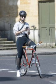 Lily James enjoy ride bike out for her daily exercise during COVID-19 in London 2020/04/11 10