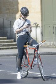 Lily James enjoy ride bike out for her daily exercise during COVID-19 in London 2020/04/11 11