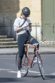 Lily James enjoy ride bike out for her daily exercise during COVID-19 in London 2020/04/11 12
