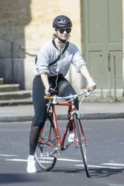 Lily James enjoy ride bike out for her daily exercise during COVID-19 in London 2020/04/11 13