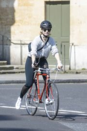 Lily James enjoy ride bike out for her daily exercise during COVID-19 in London 2020/04/11 14